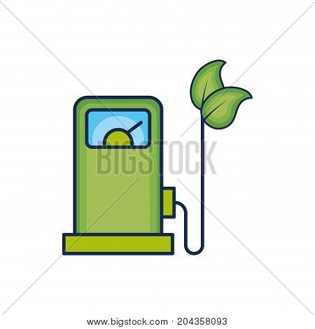 gas machine and cable with leaves to environment care vector illustration