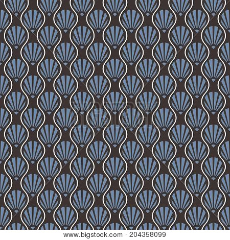 Seamless Abstract Art Deco Shell Pattern. Blue, grey and white pattern.