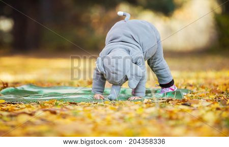 Little girl in elephant costume playing in autumn forest pretending to stamp like elephant