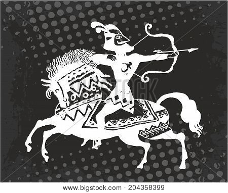 Warrior archer on horseback vector black and white.