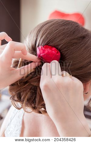 fiend helps Woman make the haircut on white background