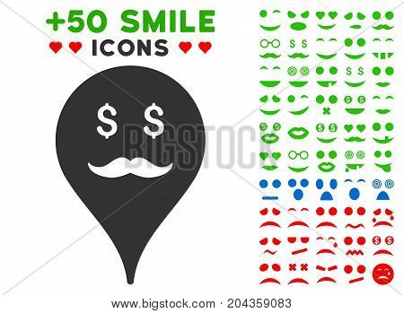 Banker Smiley Map Marker pictograph with bonus smiley pictograms. Vector illustration style is flat iconic symbols for web design, app user interfaces.