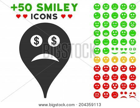 Bankrupt Smiley Map Marker icon with bonus smile graphic icons. Vector illustration style is flat iconic symbols for web design, app user interfaces.
