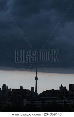TORONTO - Aug 2 2015: Toronto cityscape in rain storm. Ontario Canada
