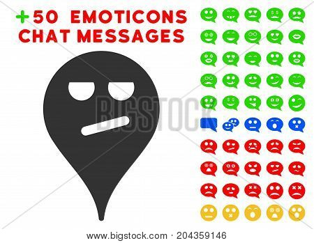 Bored Smiley Map Marker icon with bonus smile images. Vector illustration style is flat iconic symbols for web design, app user interfaces.