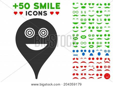 Crazy Smiley Map Marker pictograph with bonus mood symbols. Vector illustration style is flat iconic symbols for web design, app user interfaces.