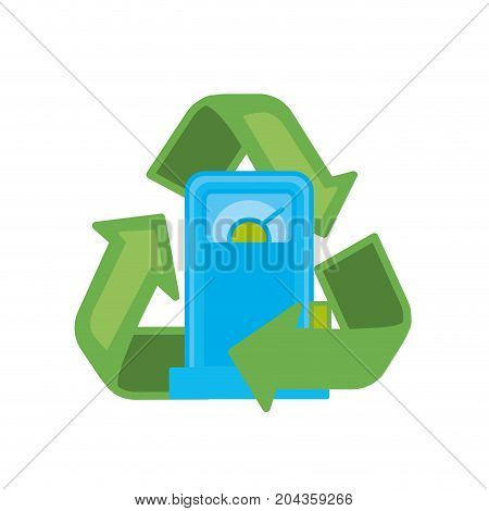 gas machine with recycle symbol around vector illustration