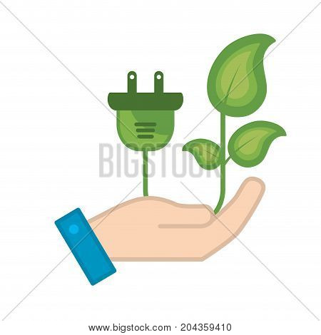 hand with ecology power cable with natural leaves vector illustration