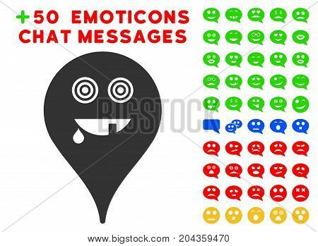 Maniac Smiley Map Marker icon with bonus facial symbols. Vector illustration style is flat iconic symbols for web design, app user interfaces.