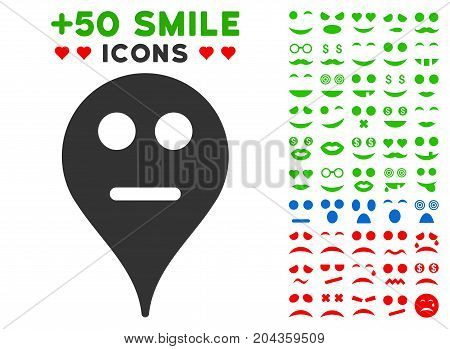 Neutral Smiley Map Marker pictograph with bonus smiley clip art. Vector illustration style is flat iconic symbols for web design, app user interfaces.