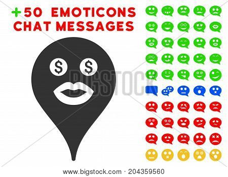 Prostitute Smiley Map Marker pictograph with bonus emotion pictures. Vector illustration style is flat iconic symbols for web design, app user interfaces.