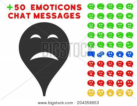 Sadness Smiley Map Marker icon with bonus smiley pictograms. Vector illustration style is flat iconic symbols for web design, app user interfaces.