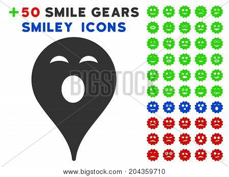 Sleepy Smiley Map Marker pictograph with bonus facial clip art. Vector illustration style is flat iconic elements for web design, app user interfaces.