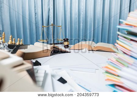 Lawyer Desk Table, Hammer With Book In Courtroom.