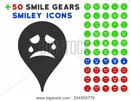 Tiers Smiley Map Marker pictograph with bonus emotion graphic icons. Vector illustration style is flat iconic elements for web design, app user interfaces.