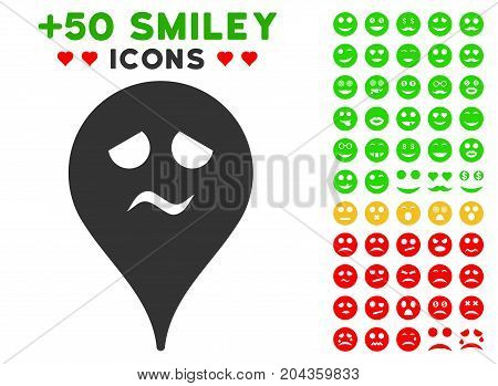 Trouble Smiley Map Marker pictograph with bonus facial symbols. Vector illustration style is flat iconic symbols for web design, app user interfaces.