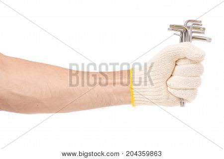 Male hand wrench isolated on white background isolation