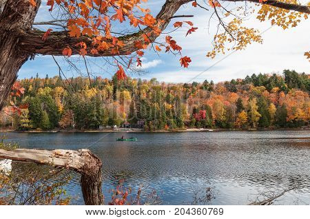 Autumn landscape with water reflection and colorful leaves. Ontario Canada