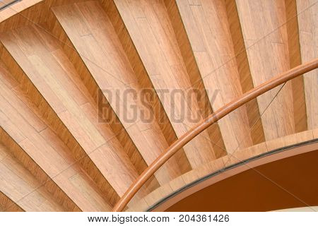 Spiral staircase of unusual shape - the top view. Fancy staircase in the shape of seashells. Design for interior home inside. The perspective and geometry of residential structures.