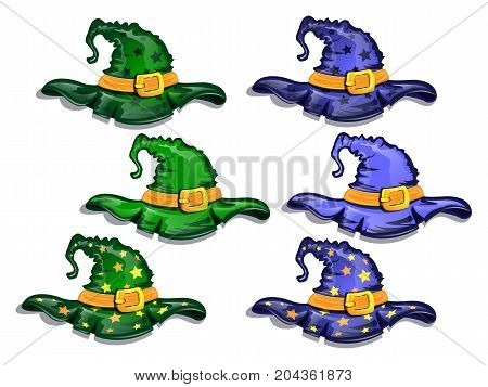 Cartoon witch hats isolated on white background elements of wizard costume. Vector illustration.