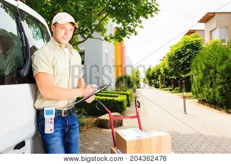 a messenger is delivering some parcels in a residential area. all barcodes on the parcel are generated by myself and contain no useful data.