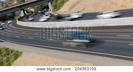 Vehicles In Motion On Three Lane Highway