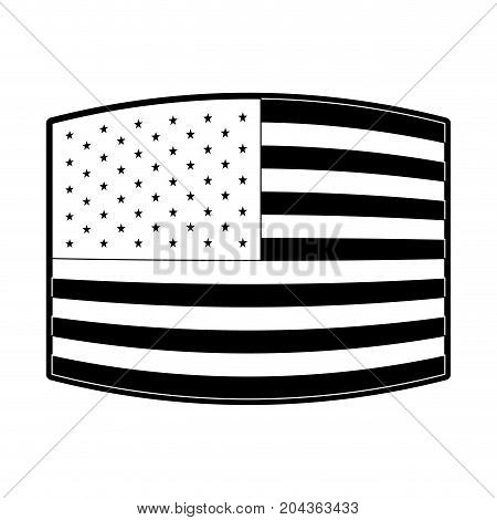 flag united states of america wave out design in monochrome silhouette vector illustration