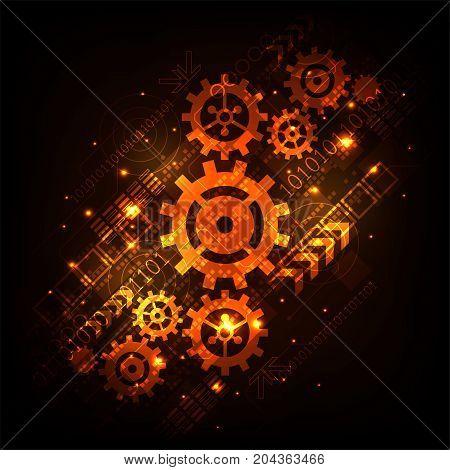Gear in technology concept on a dark orange background.