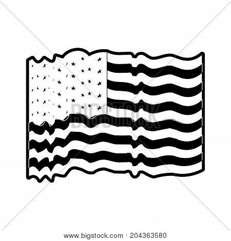 flag united states of america with several waves in monochrome silhouette vector illustration