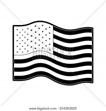 flag united states of america wave in monochrome silhouette vector illustration