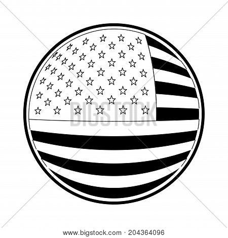 shield in circular shape with flag united states of america in monochrome silhouette