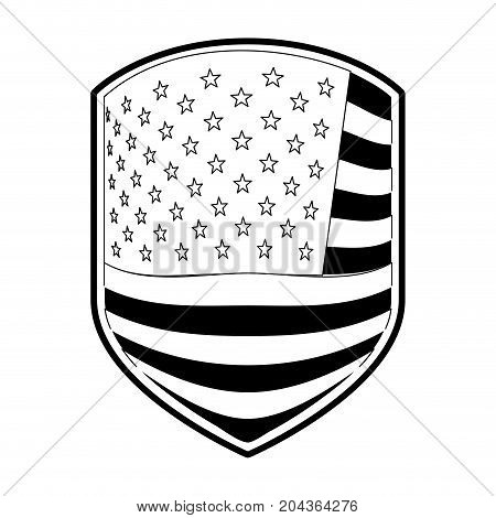 emblem of flag united states of america in monochrome silhouette vector illustration