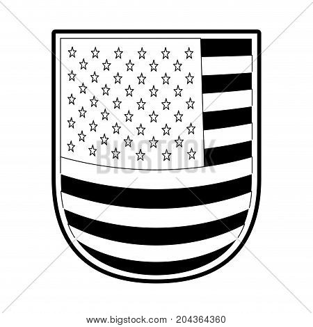 shield with flag united states of america in monochrome silhouette vector illustration