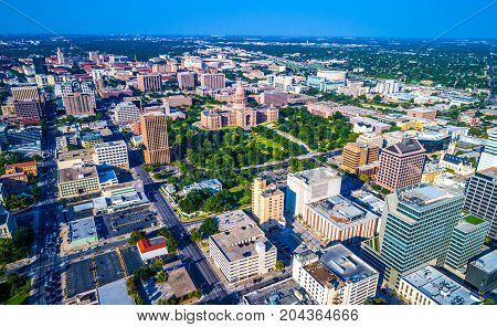 aerial drone view of Capital Texas Building from the air overlooking the entire City of Austin , Texas , USA