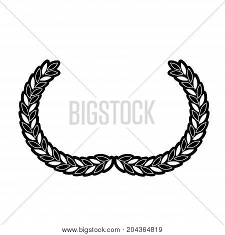 arch of leaves in medium shape in monochrome silhouette vector illustration