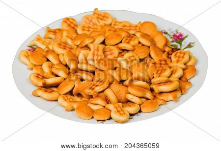 Cookies On Plates Isolated On White Background