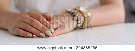 The Hands Of A Woman On The Desk Of The School Education Is Powerful