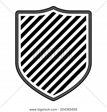 coat of arms with striped in monochrome silhouette vector illustration