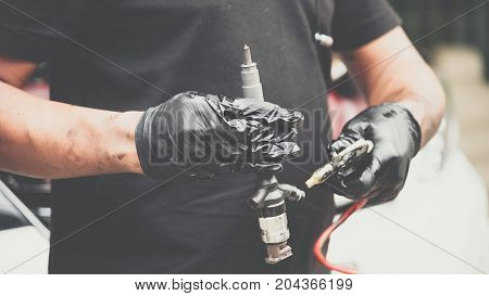 Cleaning Fuel Injection And Air Flow Car Engine