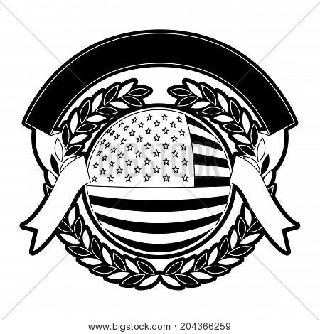 united states flag in circular shape inside with circular olive branch edge and ribbon on top with folds in monochrome silhouette vector illustration