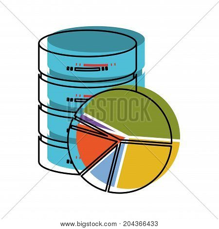 server hosting storage and available space circular graphic in watercolor silhouette vector illustration