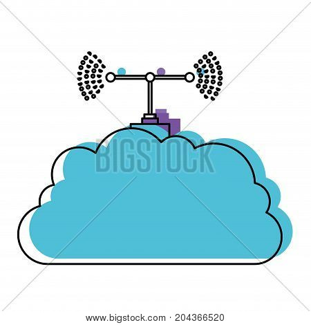 cloud service and transmission antenna in watercolor silhouette vector illustration
