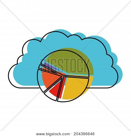 cloud storage data service icon and available space circular graphic shading in watercolor silhouette vector illustration