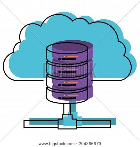 cloud and network server storage in watercolor silhouette vector illustration