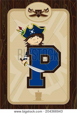 Cute Cartoon Pirate Captain - Letter P Alphabet Learning Illustration