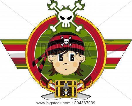Cute Cartoon Buccaneer Pirate with Swords and Treasure