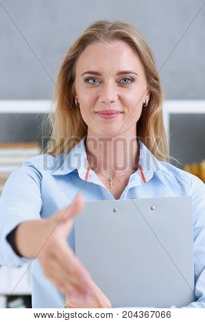Businesswoman Offer Hand To Shake As Hello In Office Closeup