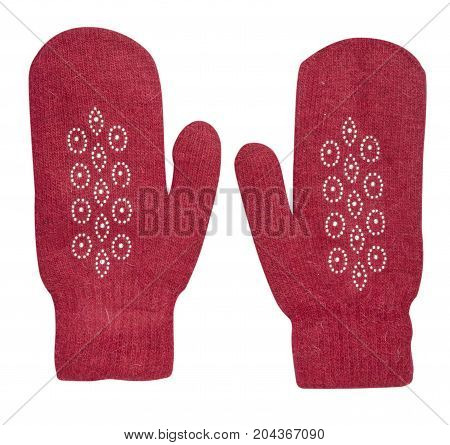 Mitten Isolated On White Background. Knitted Mittens. Mittens Top View.
