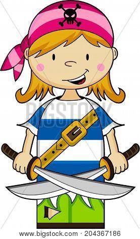 Cute Cartoon Buccaneer Bandana Pirate with Swords Illustration