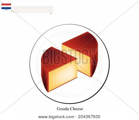 Dutch Cuisine, Gouda Cheese or Traditional Cheese Made of Milk with Fat, Protein, Riboflavin or B2, Vitamin B12 and Vitamin A, Essential Nutrient for Life. One of The Most Famous Dish of Netherlands.